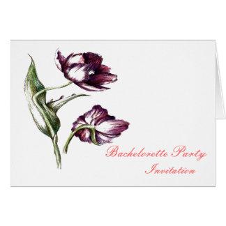 Purpe tulip botanical Bachelorete nvitation Card