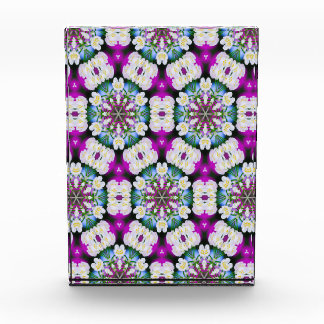 Purpel blue white checked floral pattern No11 Acrylic Award