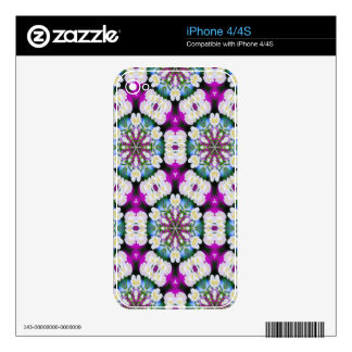 Purpel blue white checked floral pattern No11 Decal For iPhone 4S