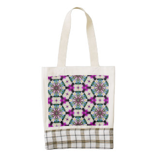 Purpel blue white checked floral pattern No11 Zazzle HEART Tote Bag