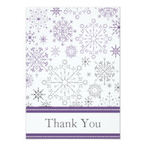 purpl gray snowflakes mod winter wedding Thank You Card
