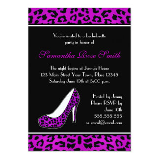 Purpl Leopard Animal Print Heel Bachelorette Party Card