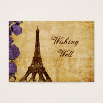purpl vintage eiffel tower Paris wishing well card