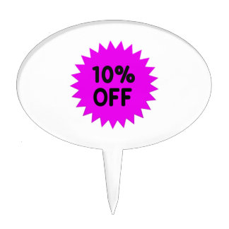 Purple 10 Percent Off Cake Toppers