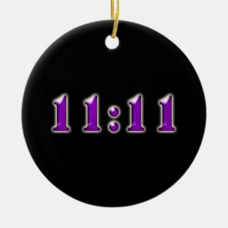 Purple 11:11 Numbers Double-Sided Ceramic Round Christmas Ornament