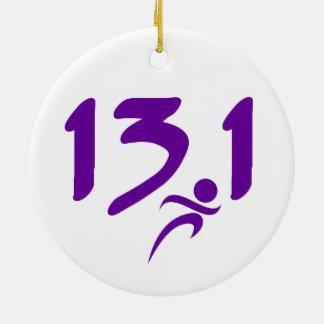 Purple 13.1 half-marathon ceramic ornament