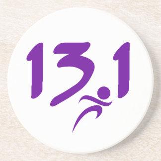 Purple 13.1 half-marathon coasters