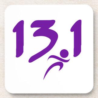Purple 13.1 half-marathon beverage coasters