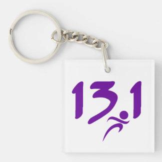 Purple 13.1 half-marathon keychain