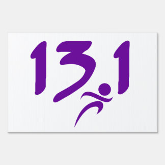 Purple 13.1 half-marathon sign