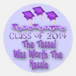 Purple 2014 Tassel Worth The Hassle Round Stickers