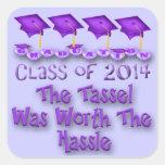 Purple 2014 Tassel Worth The Hassle Square Sticker