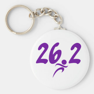 Purple 26.2 marathon basic round button keychain