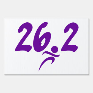 Purple 26.2 marathon sign