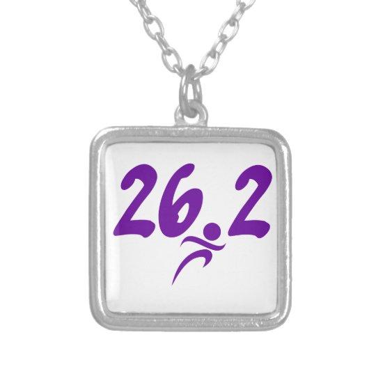 Purple 26.2 marathon silver plated necklace