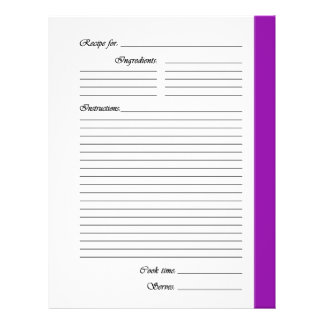 Purple 2-sided Recipe Pages