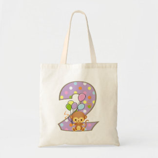 Purple 2nd Birthday Monkey and Balloons Bag