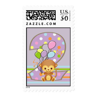 Purple 2nd Birthday Monkey and Balloons Postage