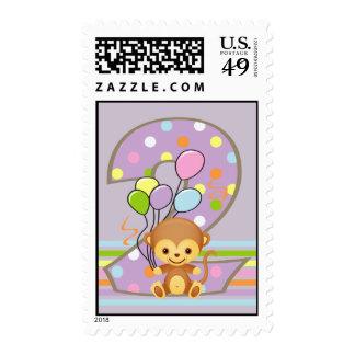 Purple 2nd Birthday Monkey and Balloons Postage