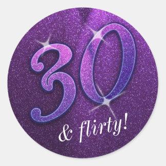 Purple 30 and Flirty Birthday Stickers