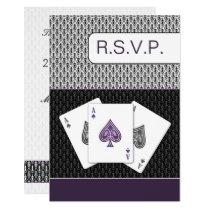 purple 3 aces vegas wedding rsvp card