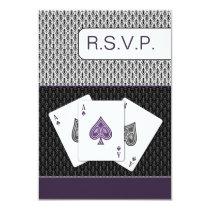 purple 3 aces vegas wedding rsvp cards, 3.5 x 5 card