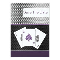 purple 3 aces vegas wedding save the date card