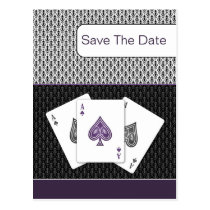 purple 3 aces vegas wedding save the date postcard