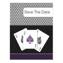 purple 3 aces vegas wedding save the date postcard
