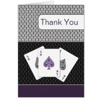 purple 3 aces vegas wedding Thank You cards