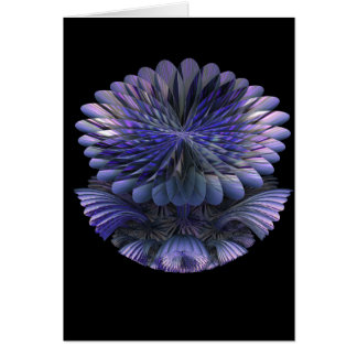 Purple 3D Fractal Flower Card