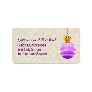 Purple 3D Look Christmas Ornament with Bow C02 Label