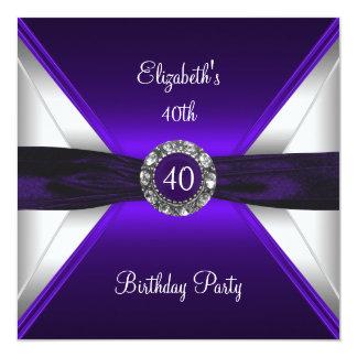 Purple 40th Birthday Diamond White Silver Party Card