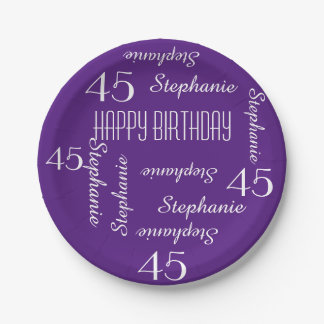 Purple 45th Birthday Party Repeating Names Paper Plate