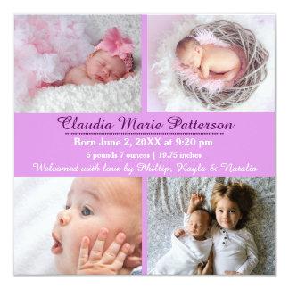 Purple 4 Photos - Birth Announcement