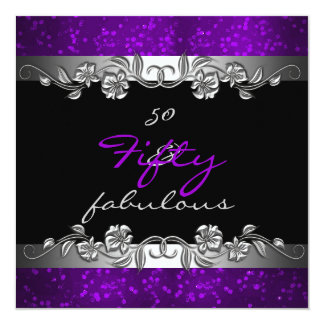 Purple 50 & Fabulous 50th Birthday Party Personalized Announcement