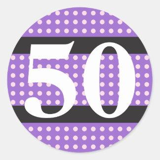 Purple 50th Birthday Stickers Pink Polka Dots