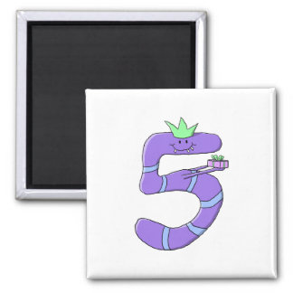 Purple 5th Birthday Cartoon. 2 Inch Square Magnet