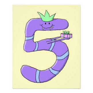 Purple 5th Birthday Cartoon. Flyer