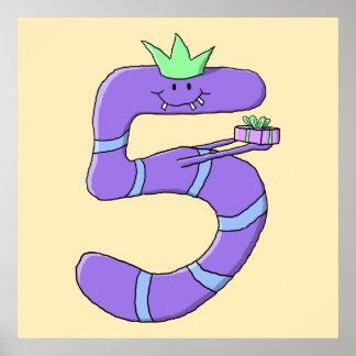 Purple 5th Birthday Cartoon. Poster