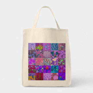 Purple 5x5 patchwork flowers pattern tote bag