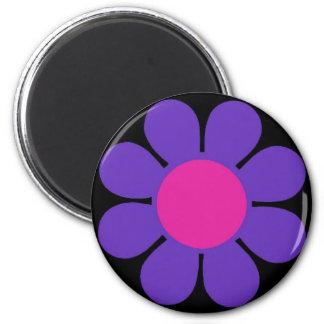 Purple 60's Flower Power 2 Inch Round Magnet
