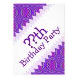 Purple 60's Retro Fractal Art Birthday Invites
