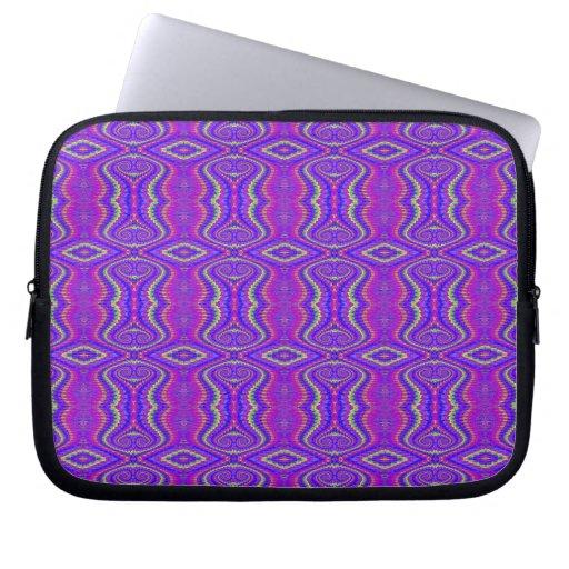Purple 60's Retro Fractal Pattern Computer Sleeve