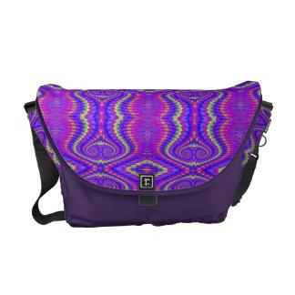 Purple 60's Retro Fractal Pattern Messenger Bag