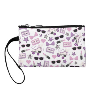Purple 80s Pattern Key Coin Clutch Coin Purses