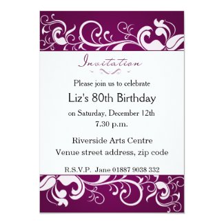 Purple 80th Birthday Invitation