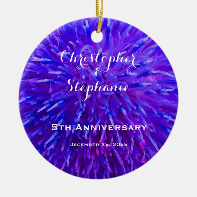 Purple Abstract Anniversary Christmas Ornament