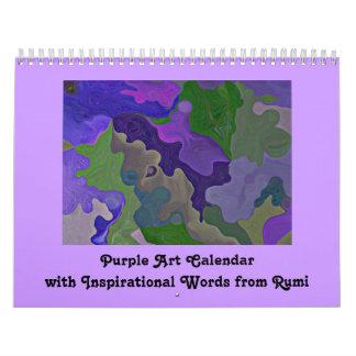 Purple abstract art and inspiration calendar