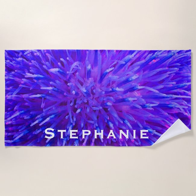 Purple Abstract Beach Towel with White Name